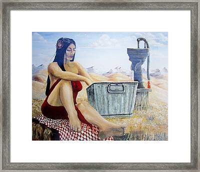 Alope Wife Of Geronimo Framed Print by Cathy Long