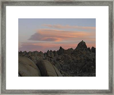 Alpenglow And Boulders Framed Print
