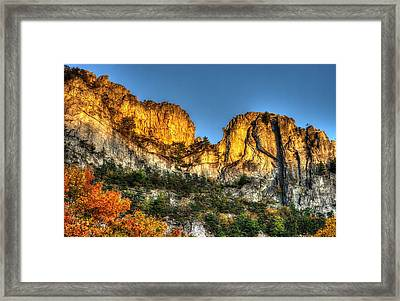 Alpenglow At Days End Seneca Rocks - Seneca Rocks National Recreation Area Wv Autumn Early Evening Framed Print by Michael Mazaika