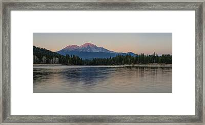 Alpenglow At The Lake Framed Print by Loree Johnson