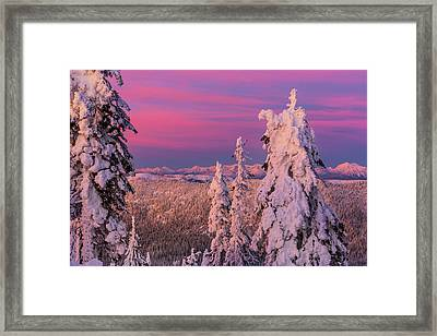 Alpenglow Light Over The Whitefish Framed Print by Chuck Haney