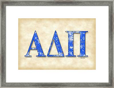 Alpha Delta Pi - Parchment Framed Print by Stephen Younts