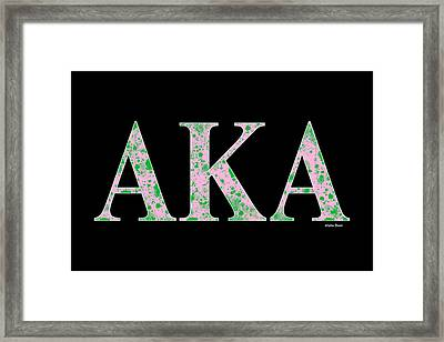 Framed Print featuring the digital art Alpha Kappa Alpha - Black by Stephen Younts