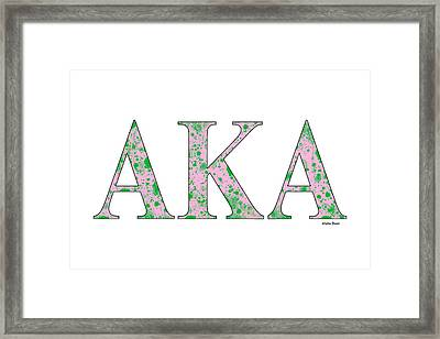 Framed Print featuring the digital art Alpha Kappa Alpha - White by Stephen Younts