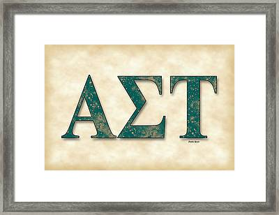 Alpha Sigma Tau - Parchment Framed Print by Stephen Younts