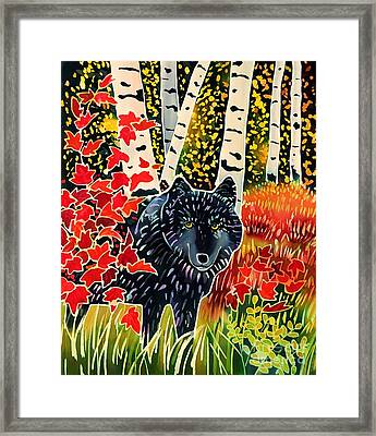 Alpha Wolf In Autumn Framed Print by Harriet Peck Taylor