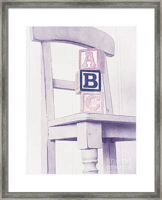 Alphabet Blocks Chair Framed Print by Edward Fielding