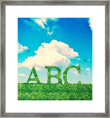Alphabet Letters In Grass Framed Print by Amanda Elwell