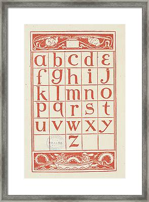 Alphabet Table For 'the Golden Primer' Framed Print by British Library