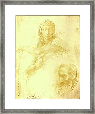 Alphonse Legros After Michelangelo, Study Of Delphic Sibyl Framed Print by Litz Collection