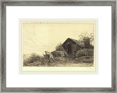 Alphonse Legros, Along The Top Of The Hill Sur Le Haut De Framed Print by Litz Collection