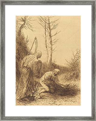 Alphonse Legros, Death And The Woodcutter Framed Print