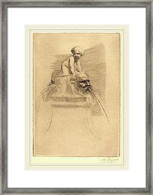 Alphonse Legros, Small Fountain, Child Playing Framed Print