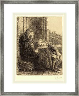 Alphonse Legros, Woman Seated Against A Wall, Child Framed Print