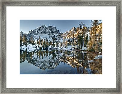 Alpine Lakes Autum Reflection Framed Print by Mike Reid