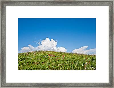 Alpine Meadow And Cloud Formation Framed Print