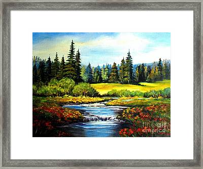 Framed Print featuring the painting Alpine Meadow by Hazel Holland