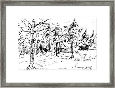 Alpine Snow Scene Framed Print
