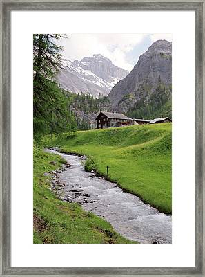 Alpine Stream And Hut Framed Print by Michael Szoenyi