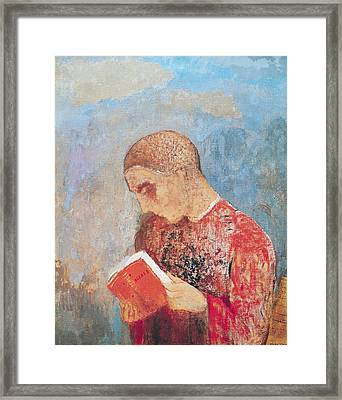 Alsace Or Monk Reading Framed Print