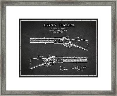 Alston Firearm Patent Drawing From 1887- Dark Framed Print by Aged Pixel