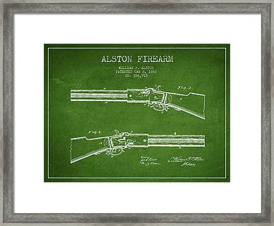 Alston Firearm Patent Drawing From 1887- Green Framed Print by Aged Pixel