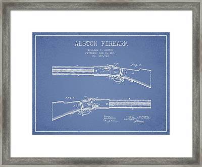 Alston Firearm Patent Drawing From 1887- Light Blue Framed Print