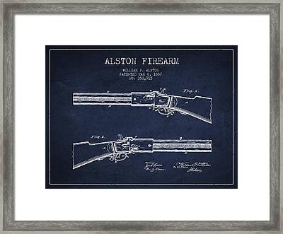 Alston Firearm Patent Drawing From 1887- Navy Blue Framed Print