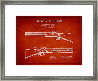 Alston Firearm Patent Drawing From 1887- Red Framed Print