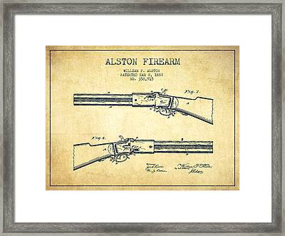 Alston Firearm Patent Drawing From 1887- Vintage Framed Print by Aged Pixel