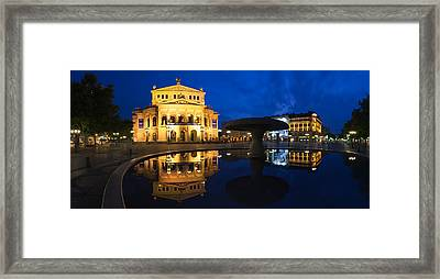 Alte Oper Reflecting In Lucae Fountain Framed Print