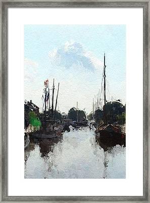 Alter Hafen In Weener Framed Print by Steve K