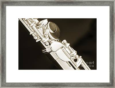 Alto Flute Instrument Foot Keys Photograph In Sepia 3455.01 Framed Print