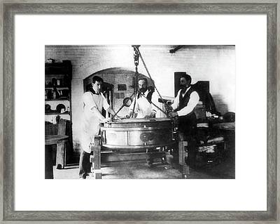 Alvan Clark And Sons Telescope Factory Framed Print by Yerkes Observatory, University Of Chicago, Courtesy Emilio Segre Visual Archives/american Institute Of Physics