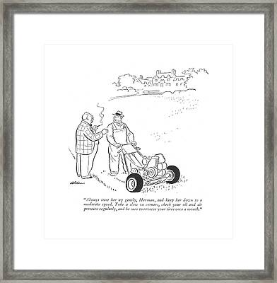 Always Start Her Up Gently Framed Print by  Alain