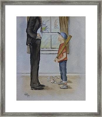 Framed Print featuring the painting Am I In Trouble Dad... Broken Window by Kelly Mills