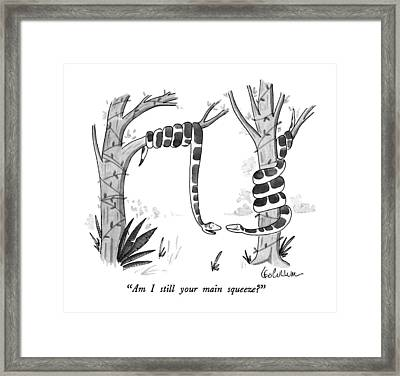 Am I Still Your Main Squeeze? Framed Print by Leo Cullum