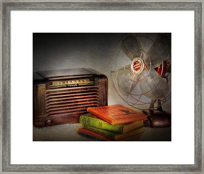 Am Radio Books And Electric Fan Framed Print by David and Carol Kelly