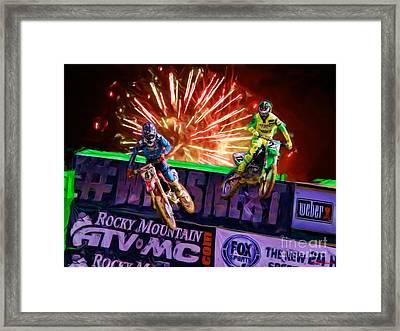 Ama 450sx Supercross Trey Canard Leads Chad Reed Framed Print by Blake Richards