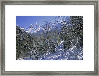 Framed Print featuring the photograph Ama Dablam In Winter by Rudi Prott