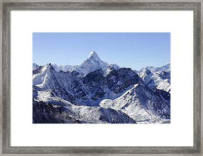 Ama Dablam Mountain Seen From The Summit Of Kala Pathar In The Everest Region Of Nepal Framed Print by Robert Preston
