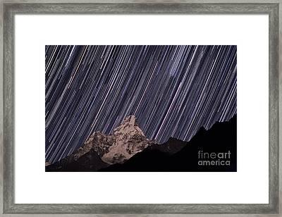 Ama Dablam Startrails Framed Print by Babak Tafreshi