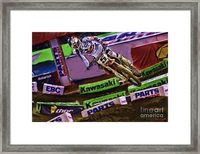 Ama Supercross Ryan Dungey Flying Framed Print by Blake Richards