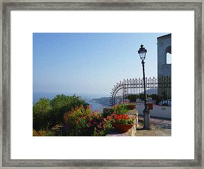 Amalfi Coast Italy Sea View Framed Print by Irina Sztukowski