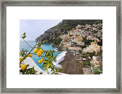 Amalfi Coast Town Framed Print by George Oze
