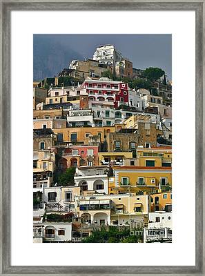 Framed Print featuring the photograph Amalfi Houses by Henry Kowalski