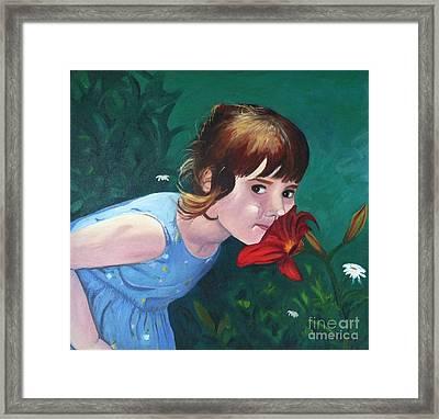 Amanda Smells The Flower Framed Print