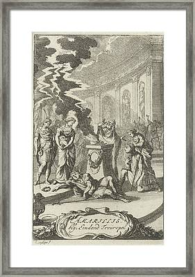 Amaryllis In A Temple Near The Body Of Damon Framed Print by Caspar Luyken