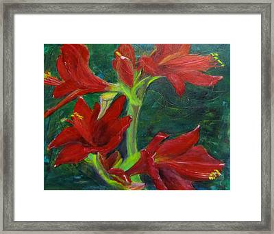 Framed Print featuring the painting Amaryllis by Linda Feinberg
