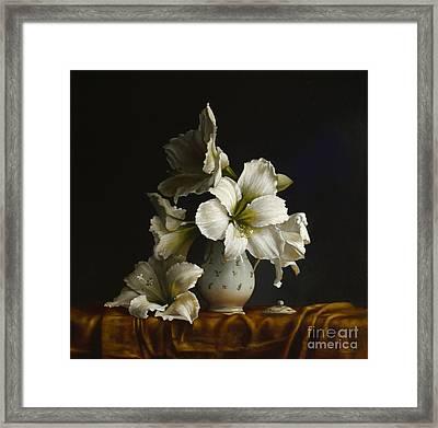 Amaryllis On Silk Framed Print by Larry Preston